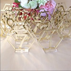 Gold geometric table numbers
